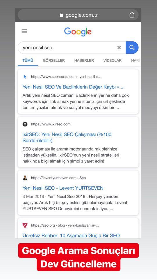 google arama sonuçları değişti